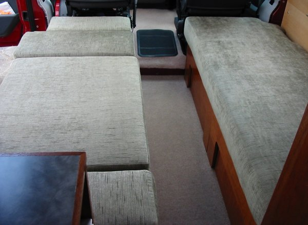 seats made up as two single beds