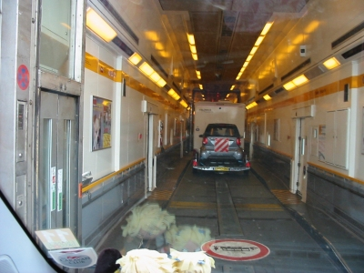 Entering the EuroTunnel carriage