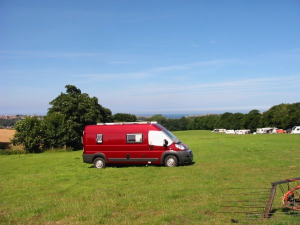 Overlooking Whitby from a Camping and Caravanning Club temporary 'site for holidays'