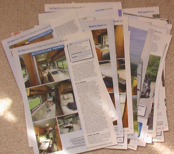 pages from articles on van conversions from motorhome mags