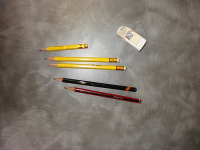 pencils and rubber