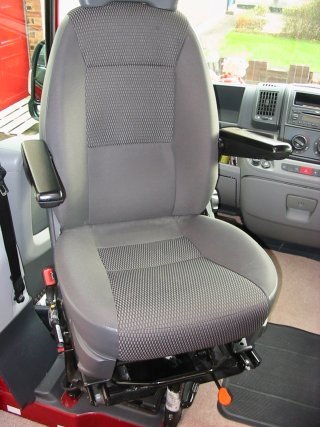 passenger cab seat in swivelled position