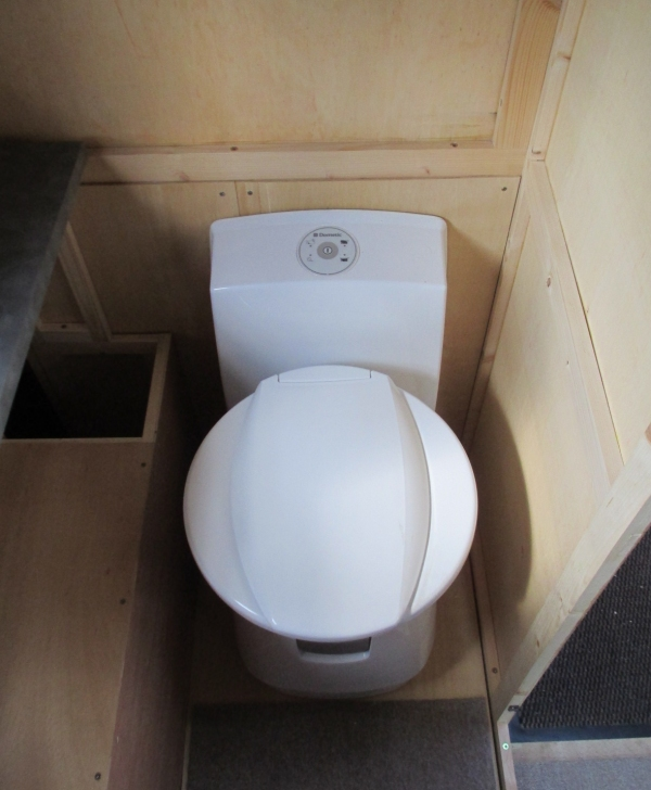 Dometic CTW 4110 swivel-bowl toilet in position