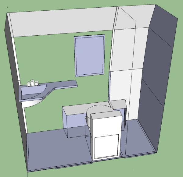 sketch of first version of washroom